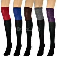 c15ed5e8c  1.25 Women s Two Tone Thigh Knee High Socks Cotton High Legging Stocking  Tone Thighs