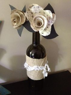 Aged Sheet Music Paper Flower in an Upcycled by BassdrumHearts, $20.00