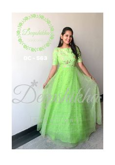 DC - Beautiful green color floor length dress with hand embroidery work. For queries kindly WhatsApp : 9059683293 12 November 2018 Kids Party Wear Dresses, Party Wear Indian Dresses, Gown Party Wear, Indian Gowns Dresses, Indian Outfits, Long Gown Dress, Lehnga Dress, Frock Dress, Long Dress Design