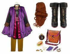 The black satin dress has brown pom pom trim on the sleeves. Halloween Costumes For Girls, Girl Costumes, Anna Frozen, Baby Disney, Disney Nursery, Disney Cars, Frozen Tutu Dress, Hello Kitty Dress, Costume Dress