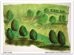 """Blenheim Landscape - stitched sketch"" by Dawn Thorne, Wokingham branch of Embroiderers' Guild.  Part of ""Celebrating 300 years of Capability Brown"" exhibition at Blenheim Palace 13 April - 2 May 2016.  Exhibition held as part of the UK's Capability Brown Festival"