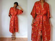 Vtg Orange Brocade Asian Belted Long Kimono Robe w by LuluTresors, $27.99