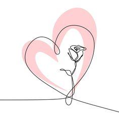 Continuous One Line Drawing Vector Illustration Of Rose Flower Minimalist Design Minimalism Concept Vector and PNG Single Line Drawing, Continuous Line Drawing, Rose Illustration, Valentines Illustration, Logo Fleur, Flower Backgrounds, Watercolor Background, Minimalist Design, Minimalist Style