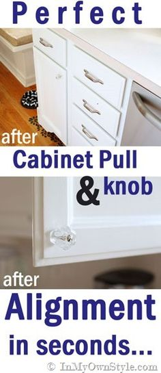 How-to-install-cabinet-knobs-the-quick and easy-way. I promise - perfect alignment in minutes!