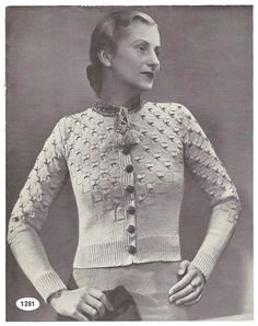 1930s Knitting Pattern for Womens Tyrolean Cardigan / Vest /
