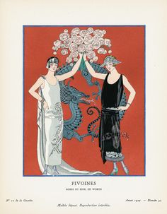 Pivoines by George Barbier from Original Bon Ton gazette prints by George Barbier 1912-1925