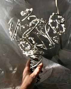 Crystal and Pearl Bouquet: A Metal Arrangement for the Offbeat Bride Pearl Bouquet, Crystal Bouquet, Beaded Bouquet, Ribbon Bouquet, Bride Bouquets, Floral Bouquets, Floral Wedding, Wedding Flowers, Bouquet Wedding