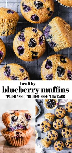 These Healthy Blueberry Muffins are soft, fluffy and come together easily in one bowl and are the perfect low carb, gluten free, sugar free paleo friendly breakfast or portable snack. They are made with almond flour and bursting with fresh flavors. A great grab and go treat for spring, summer or anytime you're craving a bakery style muffin. #blueberrymuffin #keto #paleo #muffins #blueberries