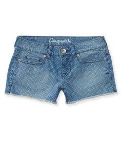 NEW! Faded Dot Denim Shorty Shorts from Aeropostale