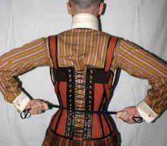 Gent's Steampunk Suspender Corset, back view