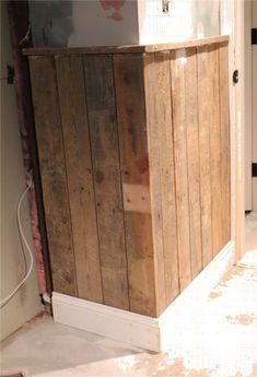 Wainscotting with Pallets. Back bathroom..would need to sand pretty good