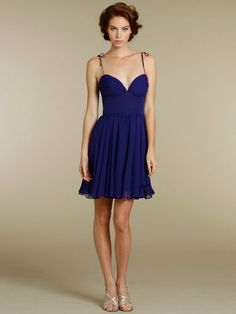Chiffon Sweetheart Cocktail Bridesmaid Dress with Shoulder Straps - Would choose a different color though - probably lavender or A light yellow