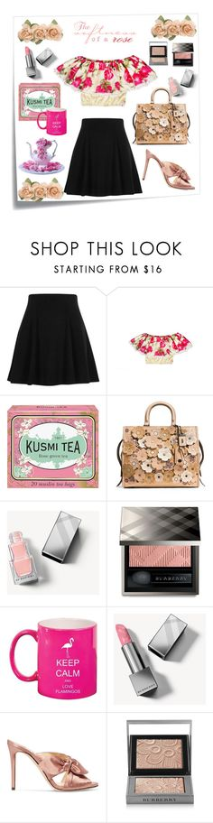 """Tea rose crop top 🌹"" by greensparkle1 ❤ liked on Polyvore featuring Post-It, River Island, Kusmi Tea, Coach 1941, Burberry and Jimmy Choo"