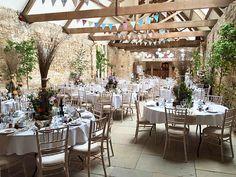 The Tithe barn set up for a wedding.