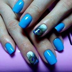 Beautiful nails 2016, Bright summer nails, Manicure by summer dress, Nail polish for blue dress, Nails under turquoise dress, Peacock feather nail art, ring finger nails, Shellac nails 2016