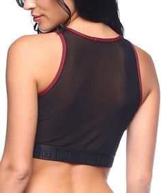 Look what I found on #zulily! The Free Yoga Burgundy Mesh-Back Crop Tank by The Free Yoga #zulilyfinds