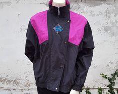 25589432e7025 90s PUMA Windbreaker Jacket Colorblock Tracksuit Track Jacket Fuchsia Pink  Black Athletic Wind Breaker 1990s by