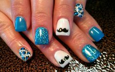 Love this and that color blue is beautiful ❤️Mustache Nails Baby Shower Nails, Shower Gel, Hair And Nails, My Nails, Mustache Nails, Different Types Of Nails, Cute Nail Polish, Nail Time, Pretty Nail Art