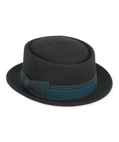 9126d9b159f ADORA Black   Teal Ribbon Wool-Blend Porkpie Hat