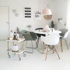 Dining room with pastel colour palette