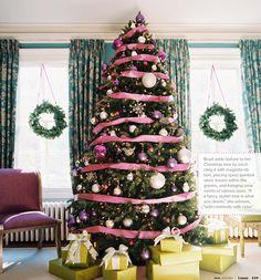 Pink ribbon around the Christmas tree
