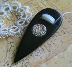 Ebony Drop Tatting Shuttle w/Silver Inlay hand carved tatting shuttle made from ebony wood and silver