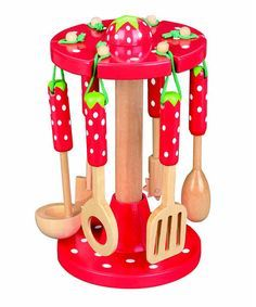Strawberry Kitchen Utensils & Stand by MaMaMeMo Red Kitchen Decor, Kitchen Themes, Rustic Kitchen, Kitchen Interior, Kitchen Canisters, Kitchen Utensils, Kitchen Gadgets, Kitchen Tools, Strawberry Kitchen