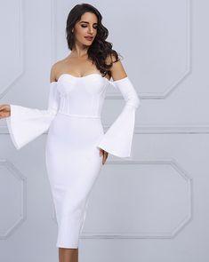 Sexy Flare Sleeve White Bandage Dress LAVELIQ