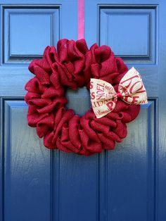 Red Burlap Wreath, Red Christmas Wreaths, Burlap Holiday Wreath, Small Red Wreaths, Burlap Christmas Wreaths, Cute Wreaths by WreathsByRebeccaB on Etsy