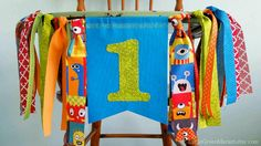 Hey, I found this really awesome Etsy listing at https://www.etsy.com/listing/265264165/monster-birthday-party-banner-rag-tie