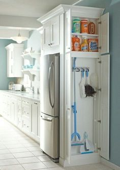 Kitchen ideas ( Great to hide the broom and dust pan) and save space for some cleaning products Perfect!!