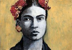 Mixed media original Frida Kahlo