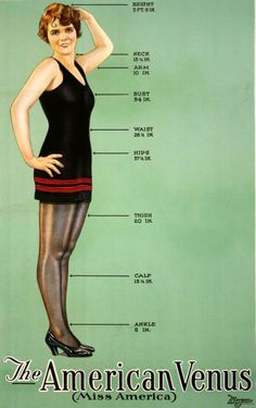 """The early 20th century has the reputation of embracing curvier women, with the supposed """"American Venus"""" based on Miss America 1926's silhouette measured a thin 34, 26.5, 37.5. That's still rather thin, but it's nothing compared to what would come. 