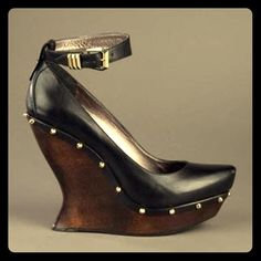 MCQ BY ALEXANDER MCQUEEN Studded Wedge Shoe PERFECT CONDITION. 2x used. Really comfortable!  These black leather shoes have a square end slim toe and a detachable black ankle strap with a gold-tone buckle fastening. The shoes have a dark wooden high wedge heel and platform with a gold-tone stud detail. Leather, wood. Size and fit: Heel 5in/12.5cm. Platform 2in/5cm. McQ Alexander McQueen Shoes Wedges