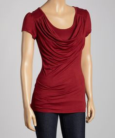 Take a look at the Burgundy Drape Neck Top on #zulily today!