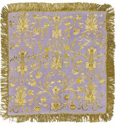 One of three Metal Thread embroidered 'ortu' covers - Ottoman Empire ~ lilac watered silk embroidered in gilt metal thread and seed pearls ~ century Textile Texture, Textile Art, Embroidered Silk, Beaded Embroidery, Color Lila, Geometry Pattern, Islamic World, Gold Work, Autumn Art