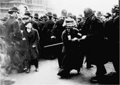 November 18, 2010...marks the 100-year anniversary of Black Friday, when 300 suffragettes went to protest at Westminster, and were met by 6,000 police men.    It was the first suffragette protest that was met with police violence and many women were assaulted and arrested.    They were protesting at Prime Minister Henry Asquith's decision to to shelve the Conciliation Bill, which would have extended the vote to about 1,000,000 land-owning women in Britain at the time.    The women were members of the Women's Social and Political Union [WSPU], an unpopular movement famed for disruptive action [including chaining themselves to railings, smashing windows and disrupting public meetings.]    On Black Friday over 200 protesters were arrested, and many were assaulted and manhandled.