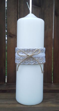 Burlap and Lace Unity Candle by BurlapCreationz on Etsy, $12.00