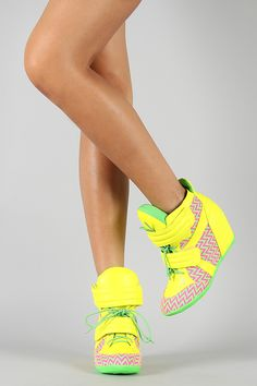 Privileged Electric Neon Tribal High Top Lace Up Wedge Sneaker High Heel Sneakers, Sneaker Heels, High Heels, Ugly Shoes, Cute Shoes, Wedge Boots, Shoe Boots, Yellow Lace Dresses, Girls Football Boots