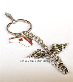 Caduceus Nursing Keychain Nurse Cap Medical Graduation Gift RN LPN ARNP CNA  #SouthMiamiBeachBoutique  #occupationalgifts  #nursekeychain