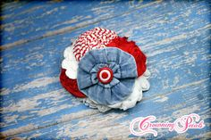 Red, White, Light Blue Denim Headband, Chambray Hair Accessory, Blue Jean Flower Hair Clip, July 4th Hair Bow, Fabric Flowers, Valentine's