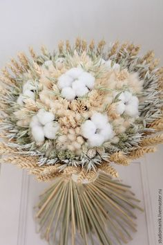 Купить или заказать Букет из сухоцветов с хлопком в интернет-магазине на Ярмарке Мастеров. Чудесный и нежный букет из сухоцветов здорово впишется в любой интерьер!