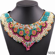 vintage wood bead colorful statement necklaces choker