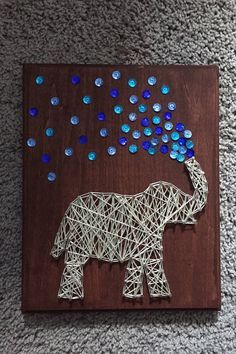 Elephant String Art by ComePaintAway on Etsy - The Crafting Room Cute Crafts, Crafts To Do, Creative Crafts, Arts And Crafts, String Art Diy, String Crafts, Arte Linear, String Art Patterns, Pin Art