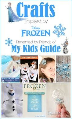 Celebrate the Magic of Arrendale with these fun Frozen Crafts for Kids!: We just cant get enough of Frozen crafts for kids! There is something special about making crafts inspired by our favorite movies. The collection below is a list of crafts that are Disney Frozen Crafts, Disney Frozen Party, Frozen Theme, Frozen Birthday Party, Frozen Projects, Projects For Kids, Frozen Activities, Frozen Games, Craft Activities