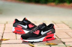 low cost e54da 866e7 meilleur chaussure running Noir Rouge atomique Nike Air Max 90 Essential  Femmes