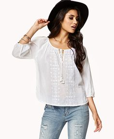 Embroidered Peasant Top   FOREVER 21 - 2053801806