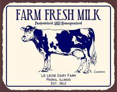 Farm Fresh Milk Dairy Leche Vintage Metal Art by vintagemetalart paint over door Vintage Labels, Vintage Posters, Printable Vintage, Vintage Tins, Printable Labels, Vintage Ephemera, Free Printables, Illinois, Farm Art