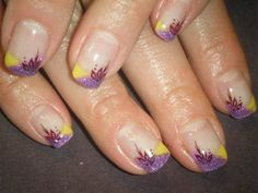 Purple and yellow colored gel tips, stamp art