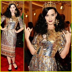"""Katy Perry rocks the red carpet in Dolce & Gabbana and David Yurman jewelry at the 2013 Met Gala held at the Metropolitan Museum of Art on Monday (May 6) in New York City.  """"Tonight for The Met I am channeling the OG queen of PUNK, JOAN of ARC!"""" Katy tweeted earlier in the evening.  This year's Costume Institute Gala Benefit celebrates the opening of the Punk: Chaos to Couture exhibition.  justjared.com"""